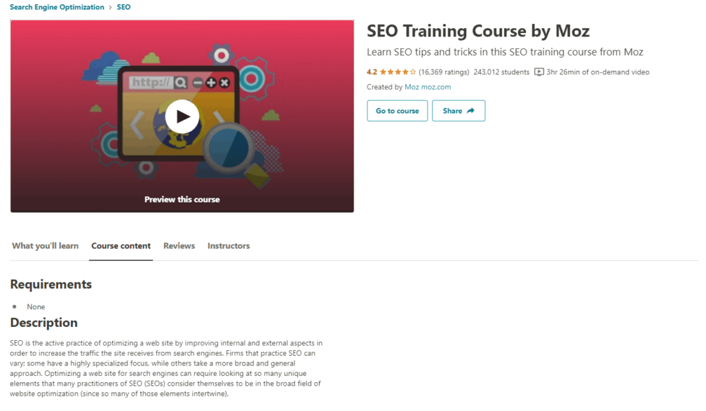 Example of a free Udemy course from Moz to learn more about SEO