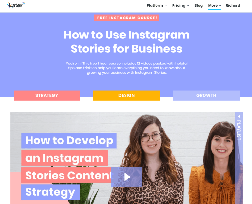 Example of one of the free Instagram courses, the how to use Instagram stories for your business course