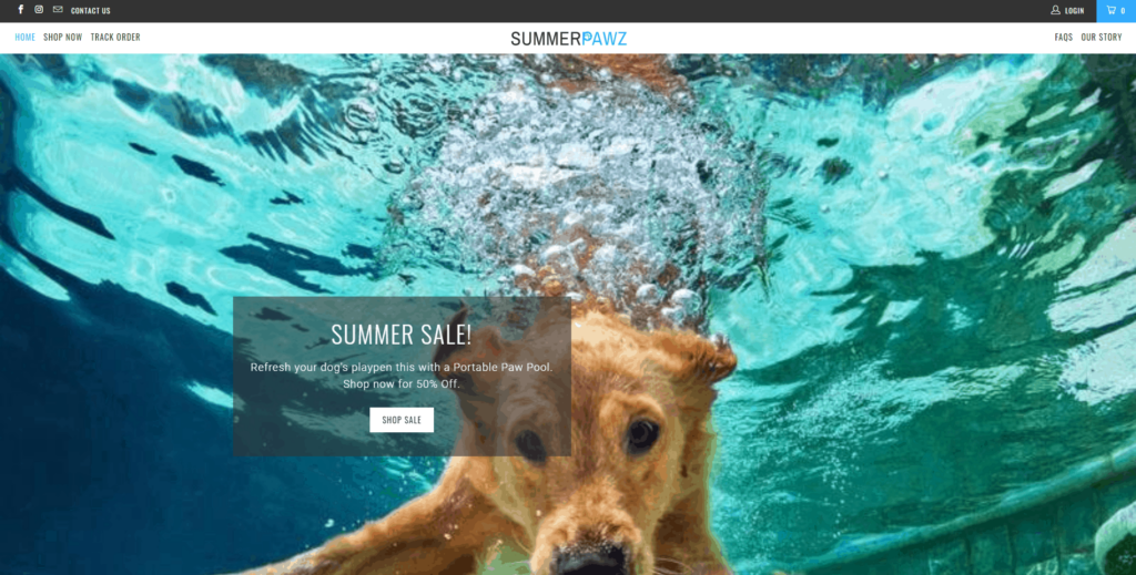 Pet Niche Dropshipping Store Examples: Summer Pawz