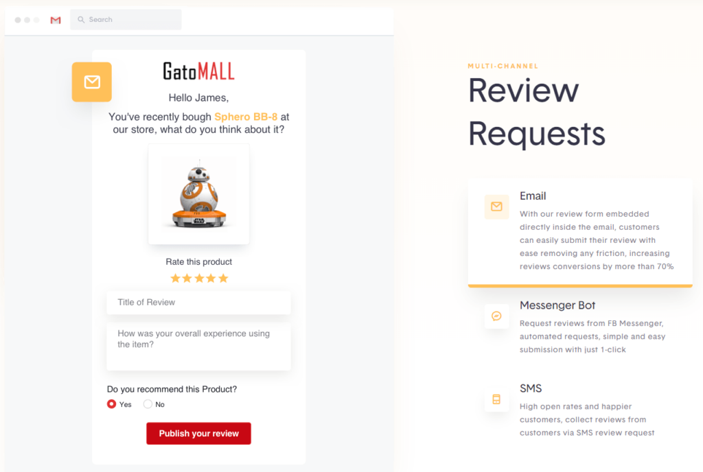 How to send product review reminder emails in Shopify? Simple! You can use one of the paid apps I showed above. For example, in this screenshot Stamped.io shows how their reminder email looks like