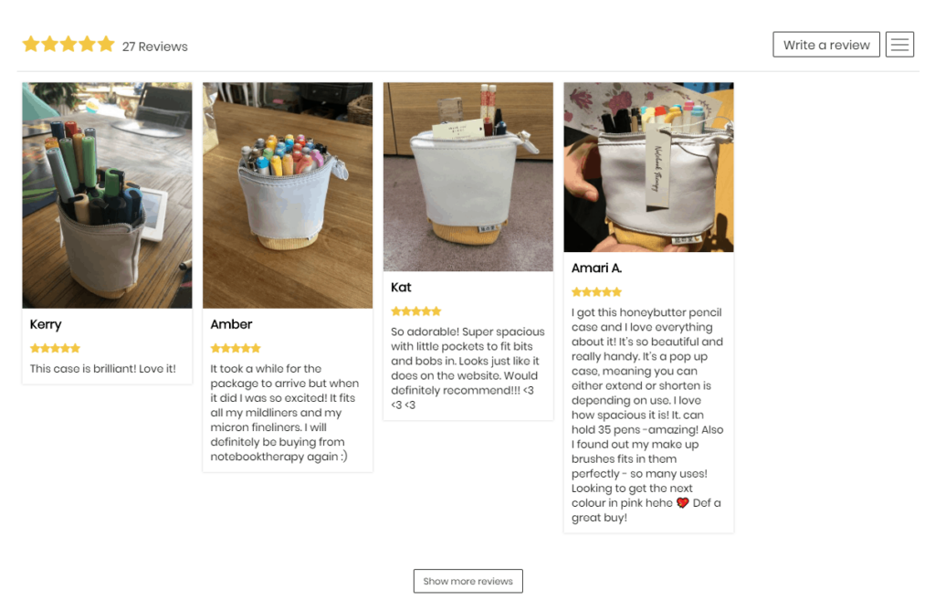 Here is an example of how the product reviews will look on a product page