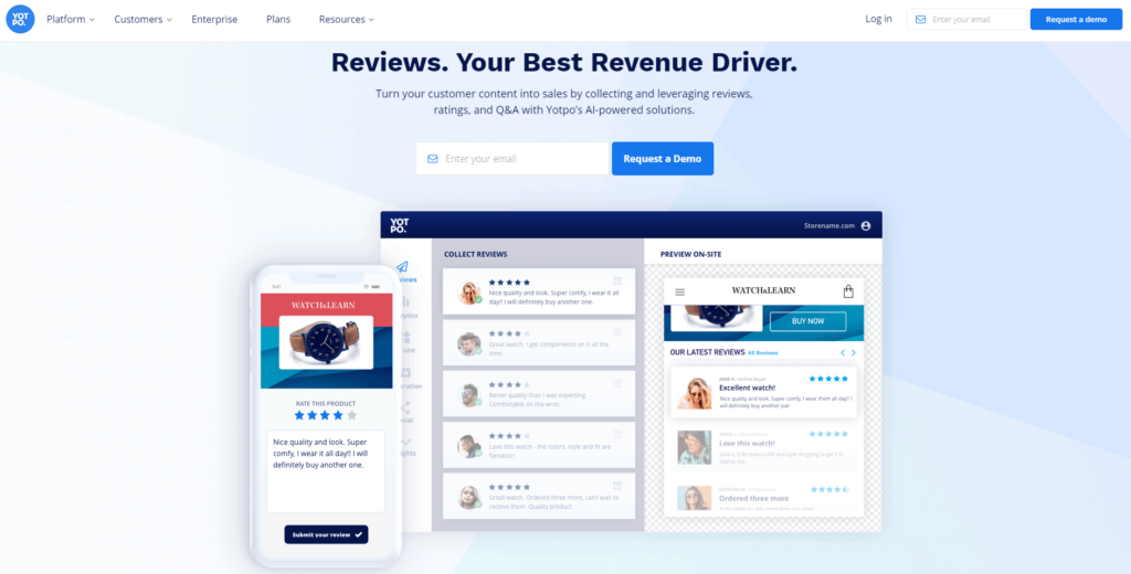 Shopify review page apps: Yotpo