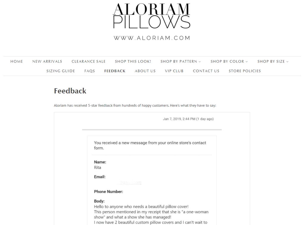 Shopify Review page example: Aloriam Pillows