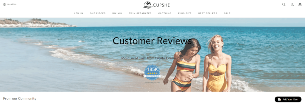 Shopify Review page example: Cupshe