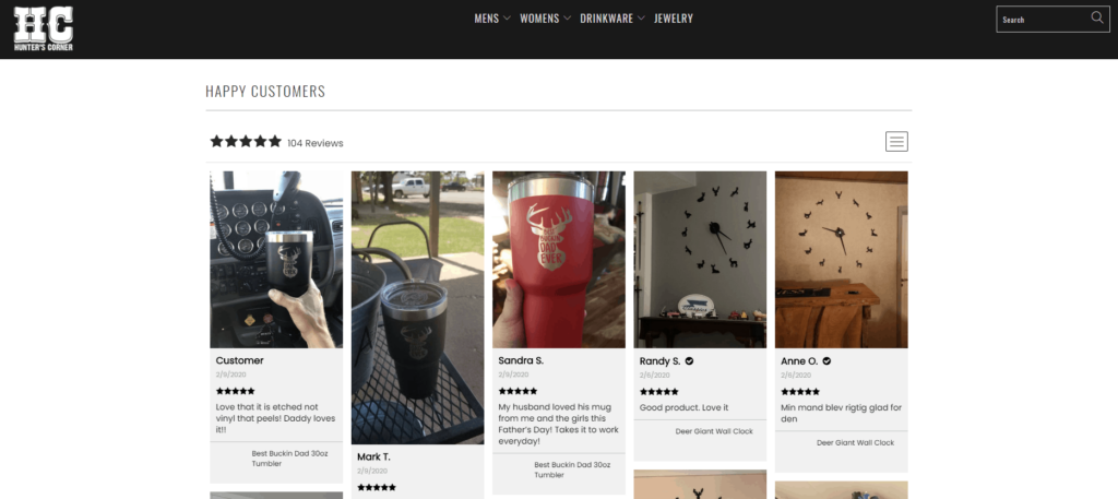 Shopify Review page example: Hunter's Corner Collection