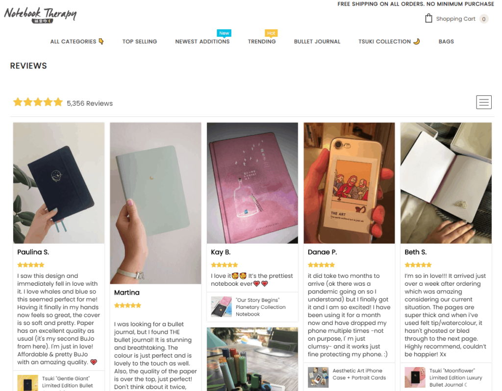 Shopify Review page example: Notebook Therapy