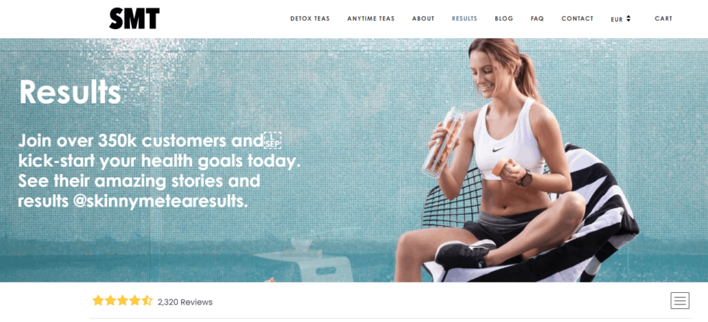 Shopify Review page example: SkinnyMe Tea