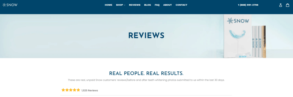 Shopify Review page example: Snow