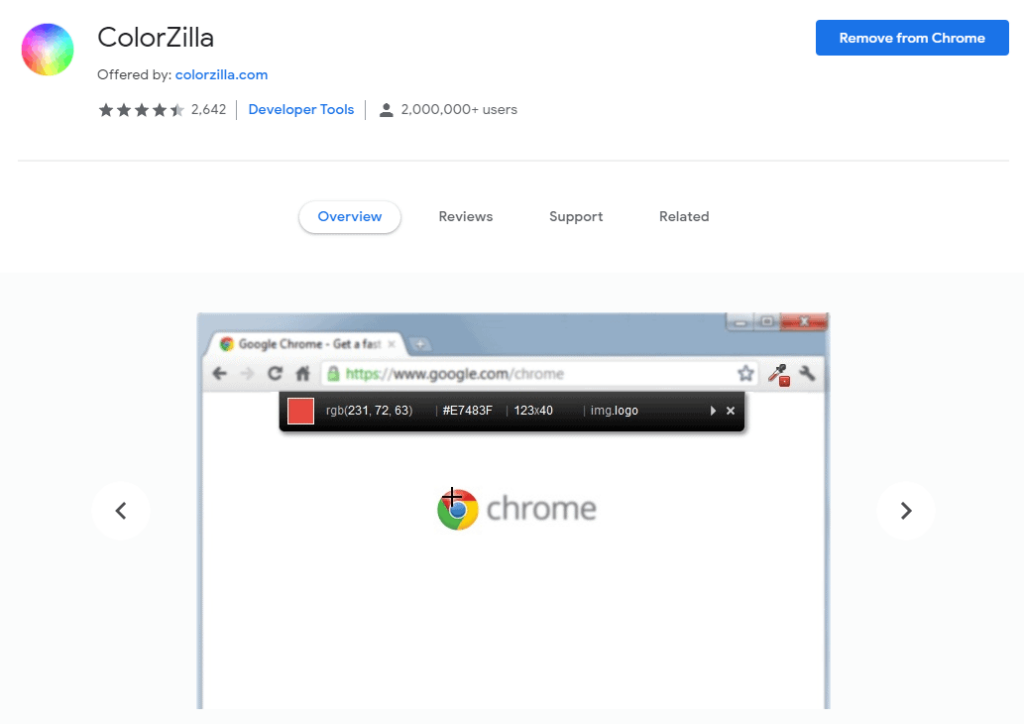 Chrome extensions for Ecommerce: ColorZilla