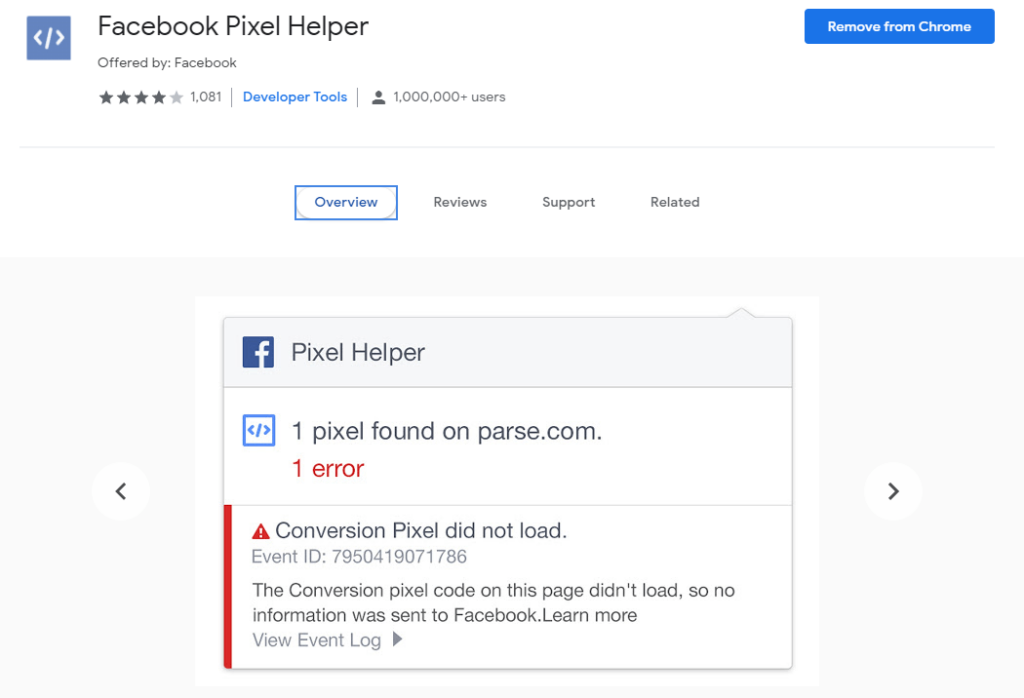 Chrome extensions for Ecommerce: Facebook Pixel Helper