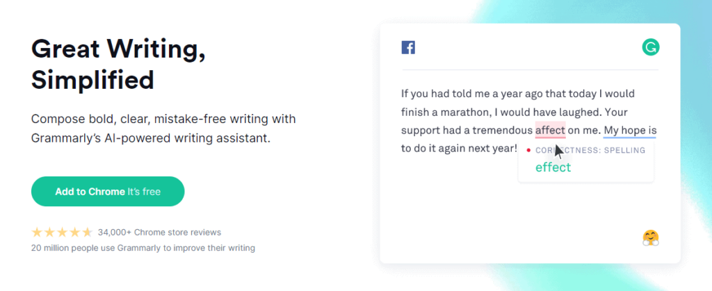 Grammarly is a great Chrome extension that helps you with your English grammar