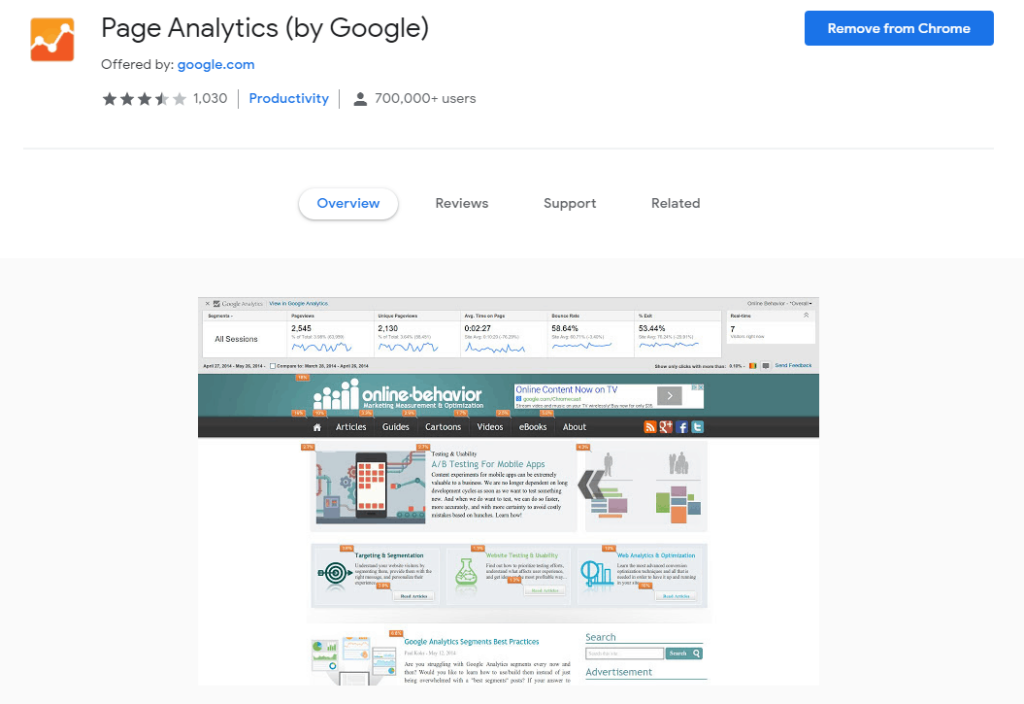 Chrome extensions for Ecommerce: Page Analytics