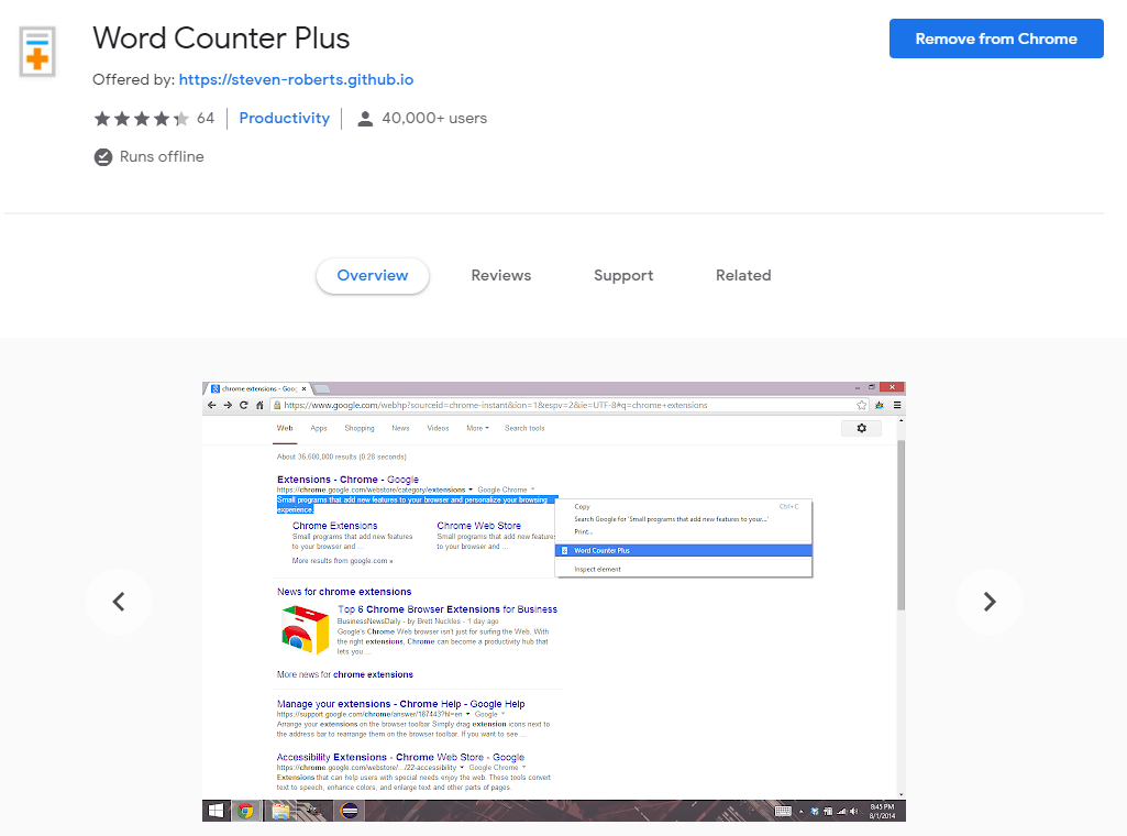 Chrome extensions for Ecommerce: Word Counter Plus