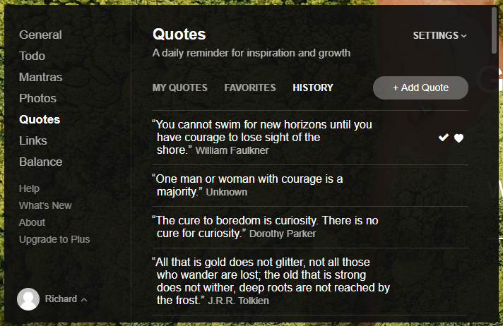 Example of quotes that you will see in the Chrome extension from Momentum