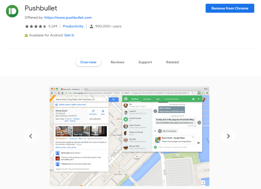 Chrome extensions for Productivity: Pushbullet