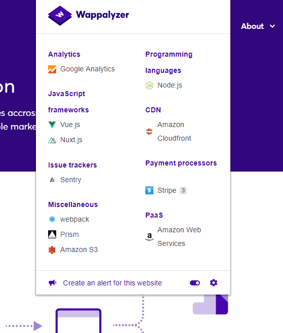 An example of Wappalyzer on their own website