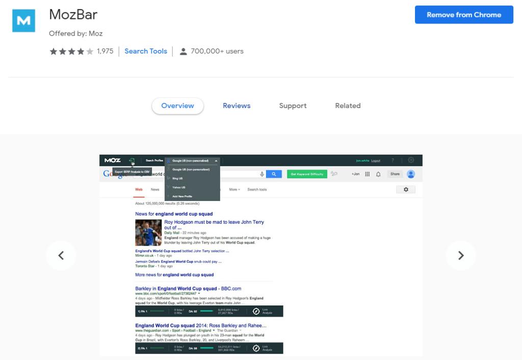 Chrome extensions for SEO: Mozbar