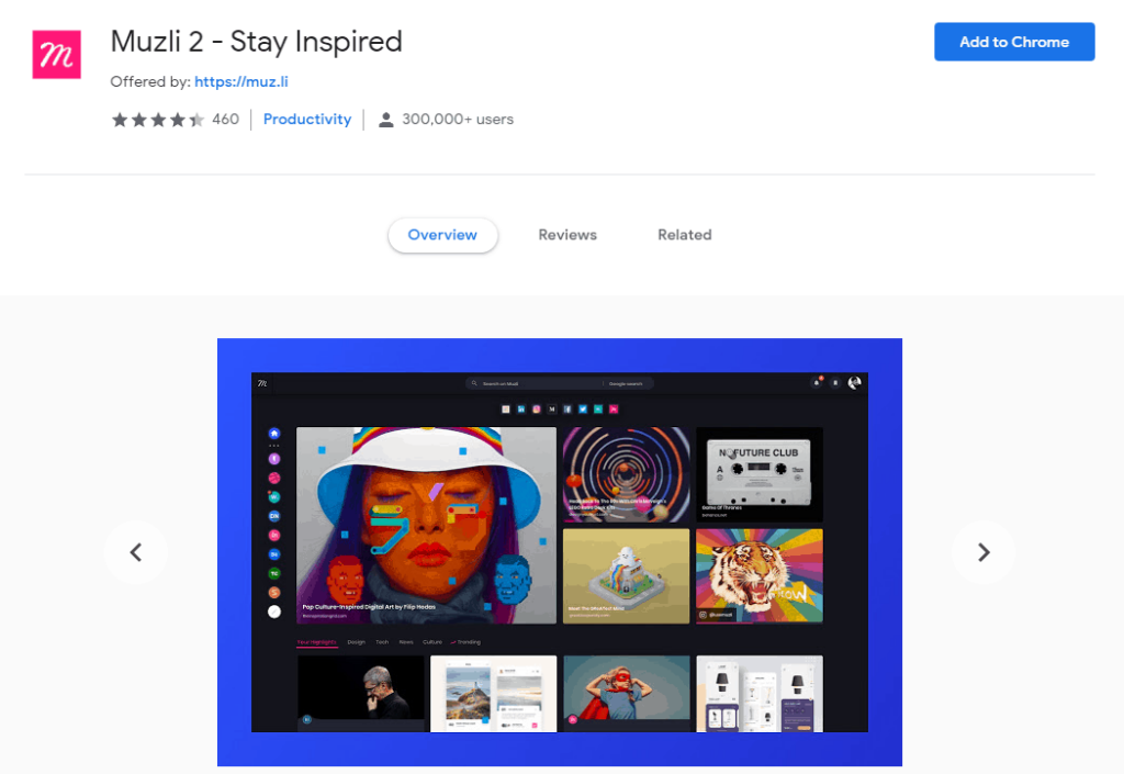 Chrome extensions for Social Media: Muzli 2