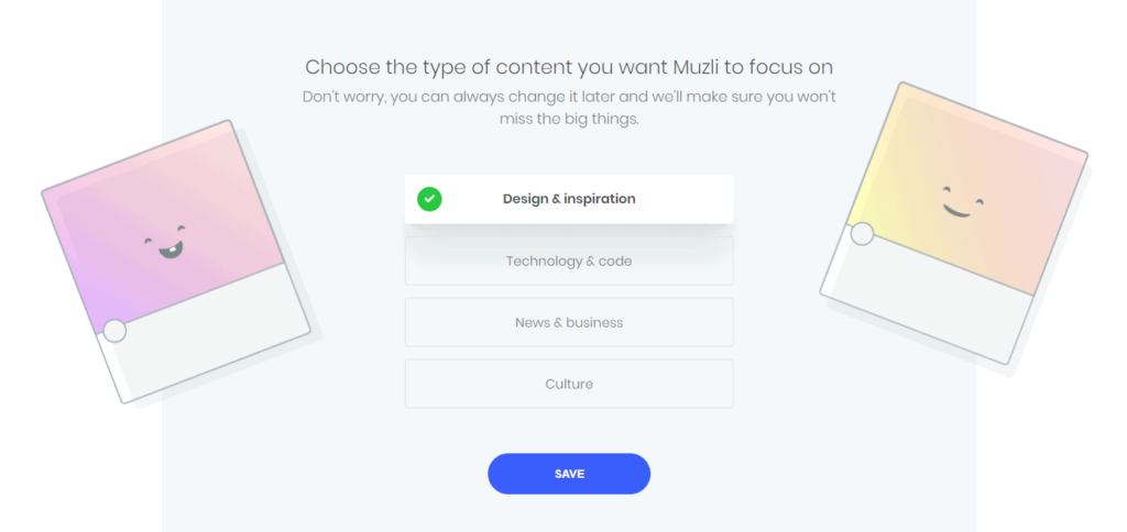 Signup screen for Muzli 2
