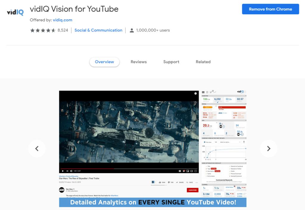 Chrome extensions for Social Media: VidIQ Vision