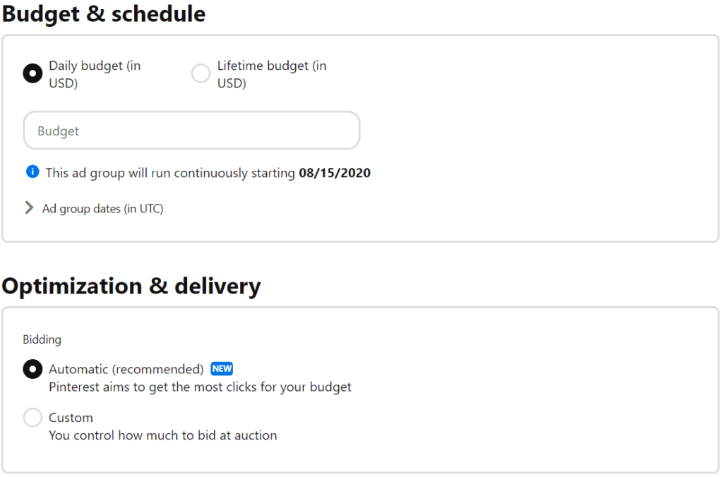 Pinterest ad budget, schedule, optimization and delivery