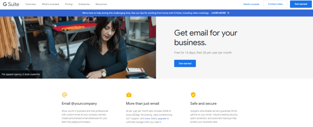 Using Gsuite to get a paid business email address for your Ecommerce store