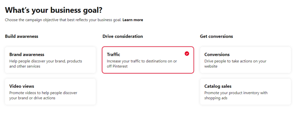 Different business goals for a Pinterest ad