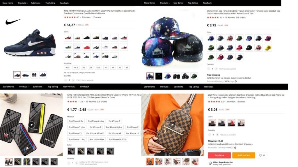 Examples of counterfeit or copyright products sold on AliExpress