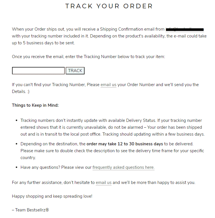 Track you order page