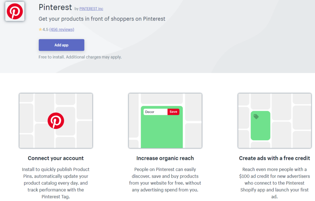 The Pinterest app in the Shopify app store