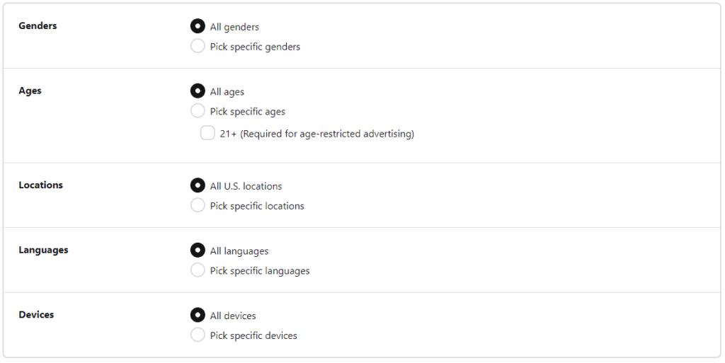 Detailed Pinterest ad targeting