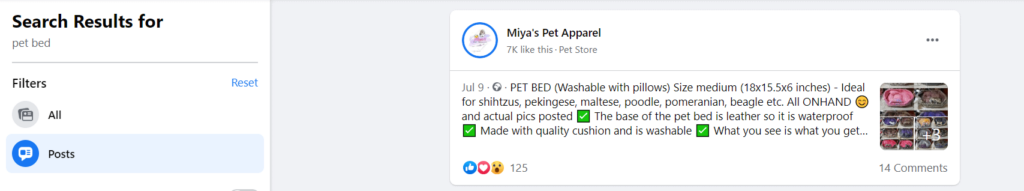 facebook search results for pet bed