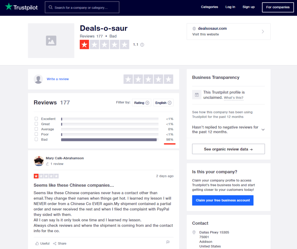 Here is a screenshot of a Trustpilot review page from a dropshipping store. A lot of 1-starts. This is exactly the reason why PayPal bans a lot of dropshipping stores