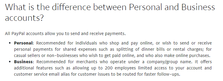 Explanation of the difference between a personal and business PayPal account