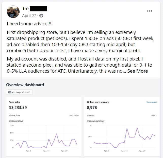 facebook saturated dropshipping product post