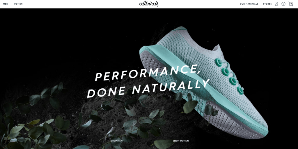 Shopify homepage example: Allbirds