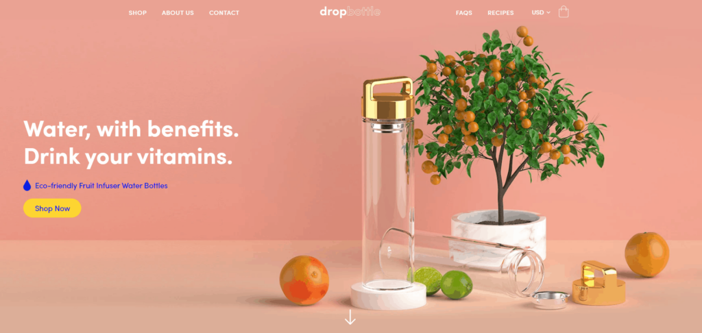 Shopify homepage example: Drop Bottle