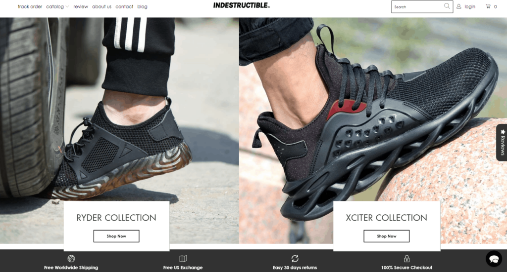 Shopify homepage example: Indestructible Shoes