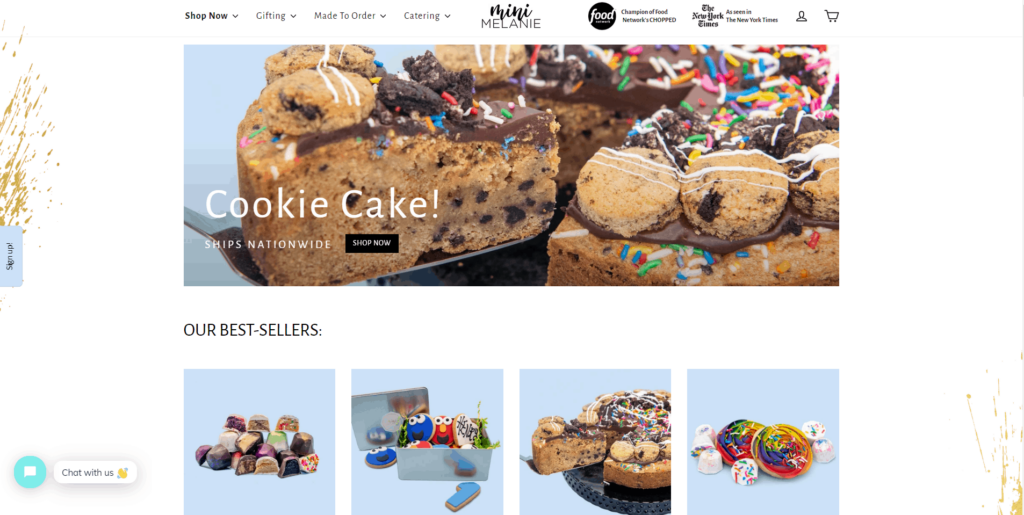 Shopify homepage example: Mini Melanie