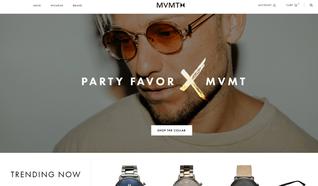Shopify homepage example: MVMT Watches