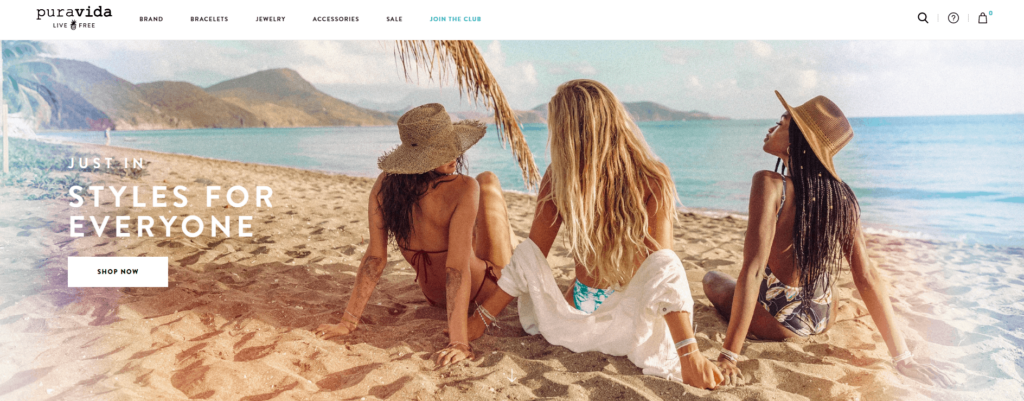 Shopify homepage example: Pura Vida Bracelets