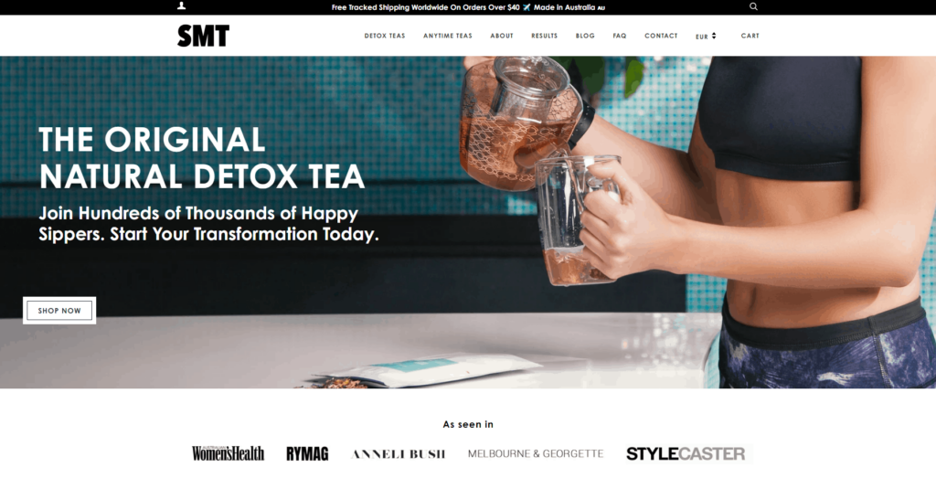 Shopify homepage example: SkinnyMe Tea