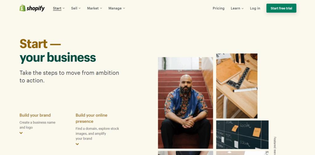Shopify platform homepage