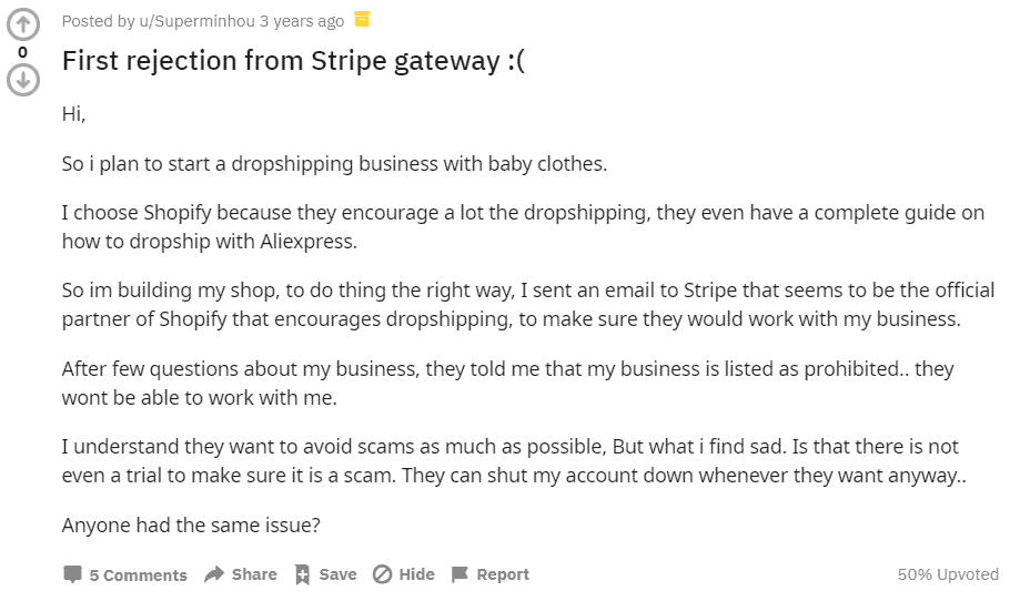 Rejection by Stripe payment gateway