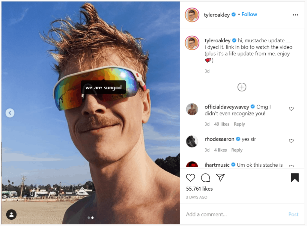 sungod instagram shoutout examples