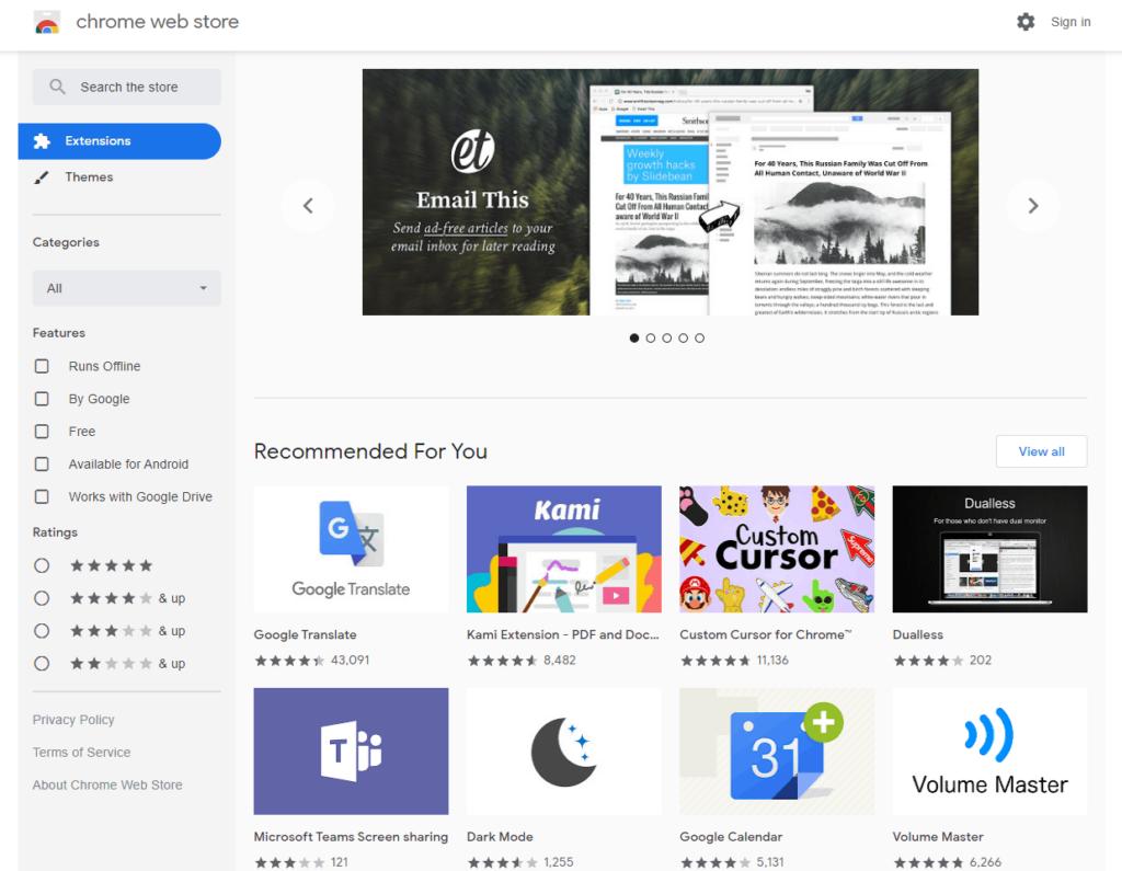 Chrome web store screenshot