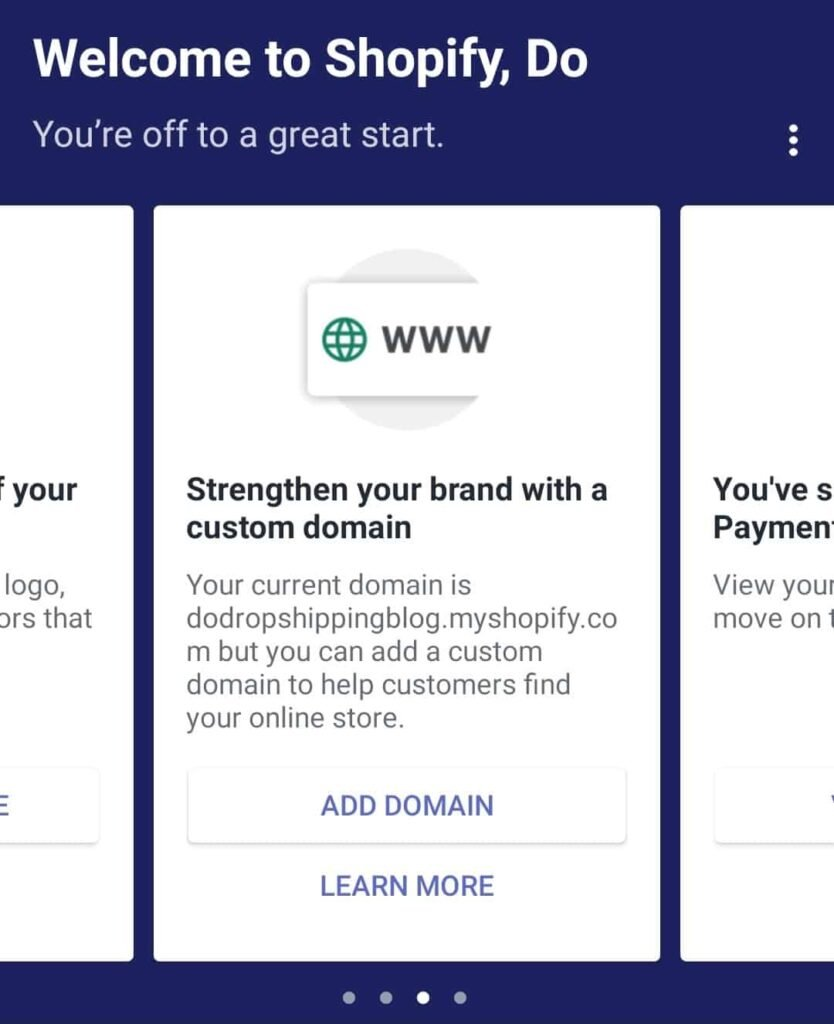 Add domain to Shopify store in Shopify mobile app