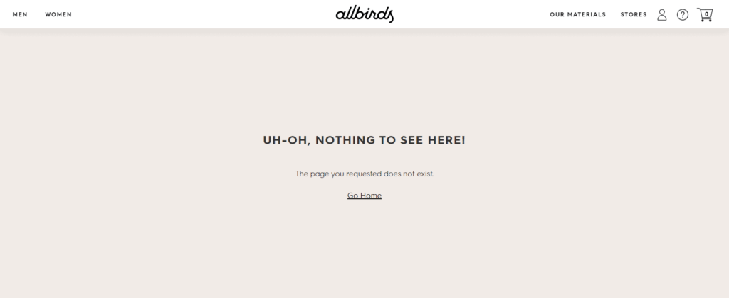 Allbirds requested page does not exist