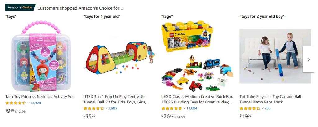 Toys examples Amazon