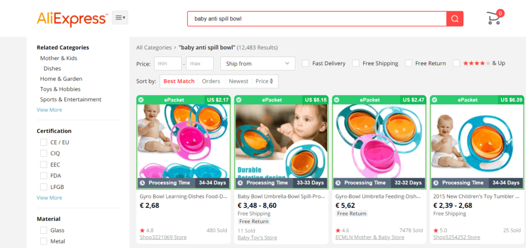 Baby dropshipping niche idea product example